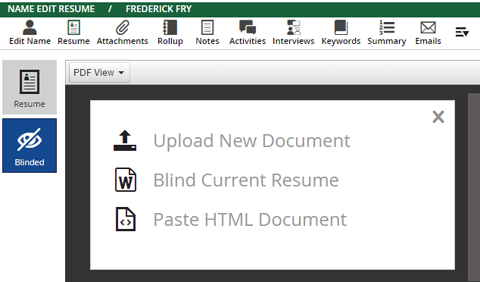 """Updated """"Blinded Resume"""" Options"""