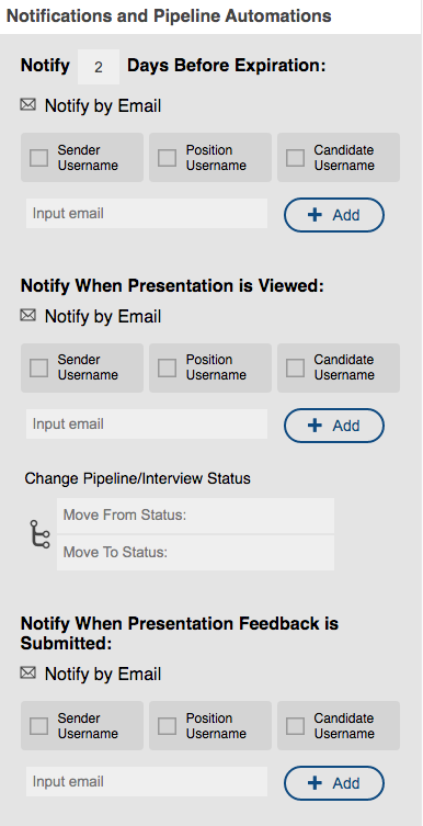 Notifications for Candidate Presentations