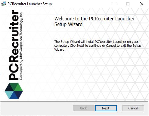 PCRecruiter Launcher Setup