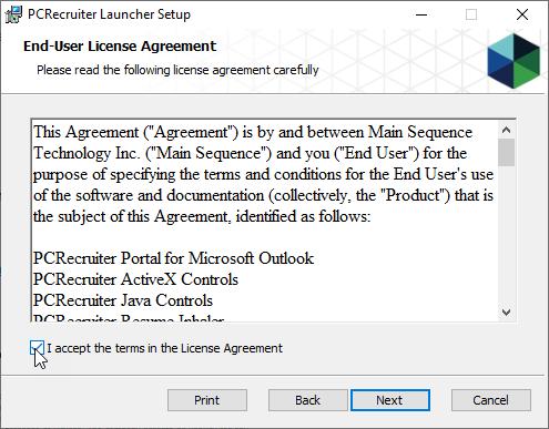 PCRecruiter Launcher EULA